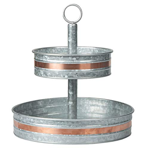 Galvanized Two Tiered Serving Stand - Farmhouse 2 Tier Metal Tray Platter for Cake, Dessert, Shrimp, Appetizers & More