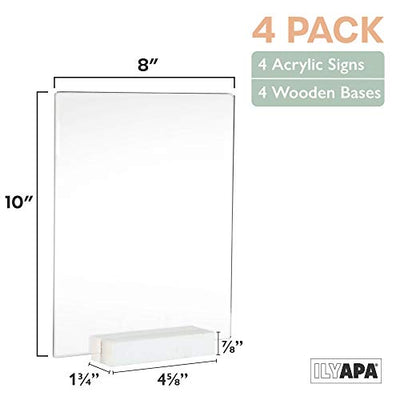 Acrylic Sign Holders with White Wood Stands, 4 Pack - 8x10 Inch Blank Table Numbers Set for Wedding