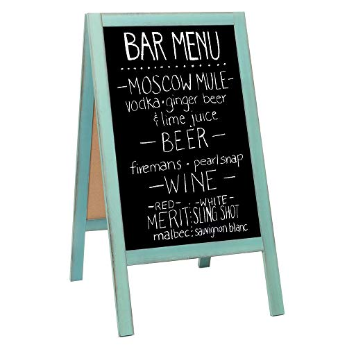 Wooden A-Frame Sign with Eraser & Chalk - 40 x 20 Inches Magnetic Sidewalk Chalkboard - Sturdy Freestanding Turquoise Sandwich Board Menu Display for Restaurant, Business or Wedding