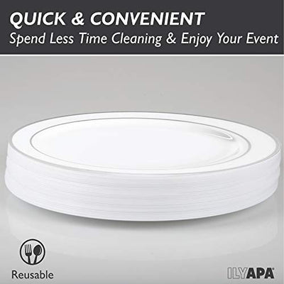 50 Silver Rim Plastic Plates Set, 9 Inch - Bulk White, Gold Rimmed Dinner Disposable Plates for Wedding or Party