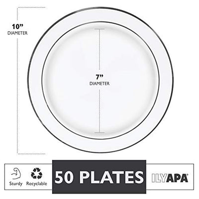 50 Premium Silver Rim Plastic Plates for Dinner Party or Wedding - 10 Inch White Silver Rimmed Disposable Plastics Plates