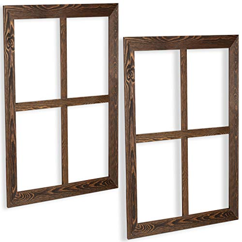 Window Frame Wall Decor 2 Pack - Large 18x22 Inch Rustic Espresso Wood Window Pane Country Farmhouse Decorations