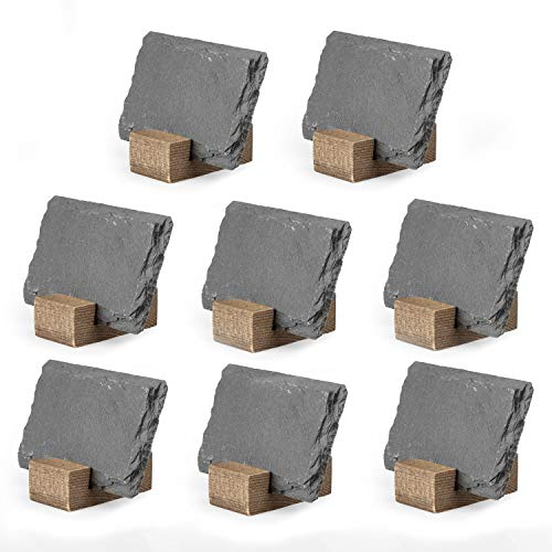 Mini Chalkboard Signs for Tables, 8 Pack - Rustic 2x3 Inch Small Slate Tabletop Chalk Boards with Wood Stands Set