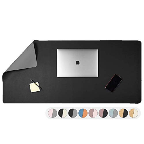 Office Desk Mat, Double Sided Gray & Black - Large 47 x 23 Inch Leather Style Computer Pad for Desk