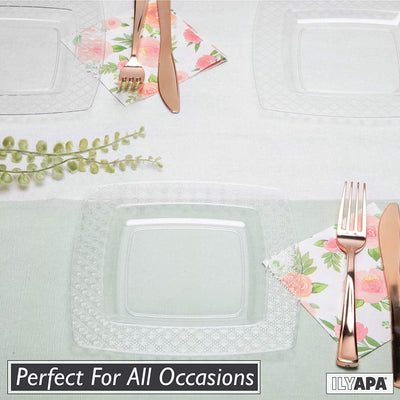 100 Square Plastic Plates - 7.5 Inch Clear Disposable Plates with Diamond Design Rim for Dessert, Salad or Appetizer, Bulk Set