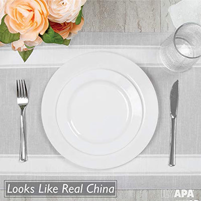 60 Premium Plastic Plates for Dinner Party or Wedding - 30 10.5 Inch & 30 7.5 Inch White Disposable Plate Set