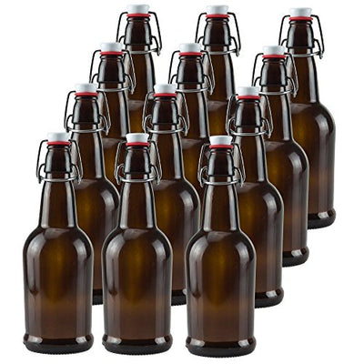 Ilyapa 16oz Clear Glass Beer Bottles for Home Brewing - 12 Pack with Airtight Rubber Seal Flip Caps