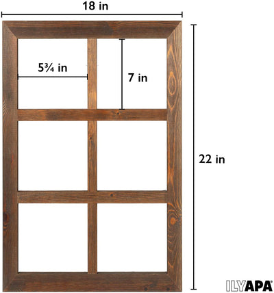 Ilyapa Window Frame Wall Decor 2 Pack - Large 18x22 Inch Rustic Espresso Wood Window 6 Pane Country Farmhouse Decorations