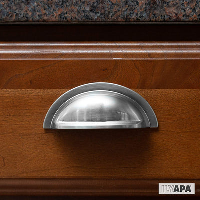 Satin Nickel Kitchen Cabinet Pulls - New 3 Inch Hole Center Bin Cup Drawer Handles - 10 Pack of Kitchen Cabinet Hardware