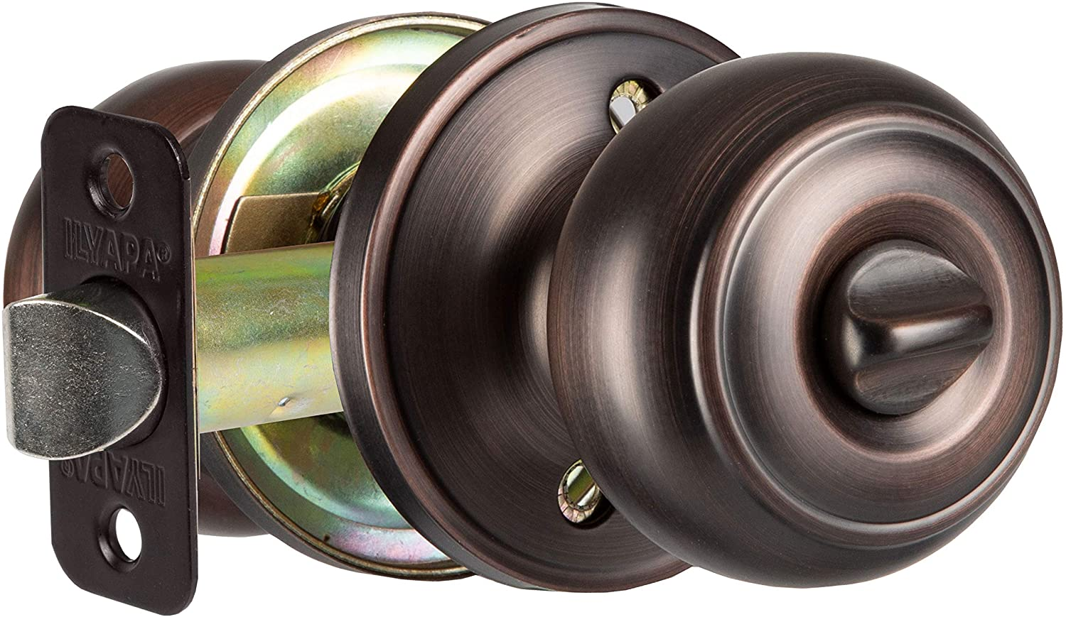 Interior Privacy Door Knob - Keyless Locking Door Handles for Bedroom or Bathroom - Oil Rubbed Bronze Finish