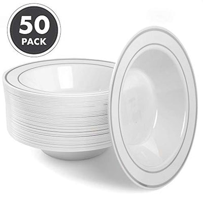 12oz Plastic Bowls Set of 50 - White Silver Rim 12 oz Disposable Bowl Pack