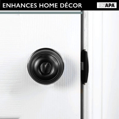 Interior Privacy Door Knob - Keyless Locking Door Handles for Bedroom or Bathroom - Matte Black Finish