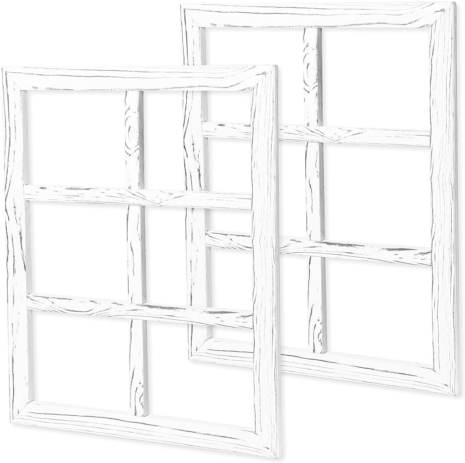 Ilyapa Window Frame Wall Decor 2 Pack - Large 18x22 Inch Rustic White Wood Window 6 Pane Country Farmhouse Decorations