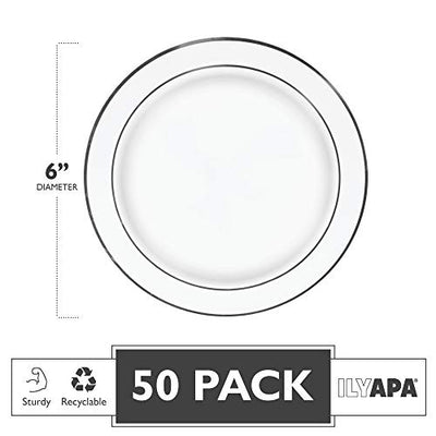 50 Silver Rim Plastic Plates Set, 6 Inch - Bulk White, Gold Rimmed Salad Disposable Plates for Wedding or Party