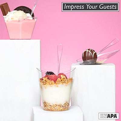 100 Mini Plastic Dessert Cups with Spoons - 7 oz Gold Glitter Dessert Shooters for Chocolate Desserts, Appetizers, Samplers, Shot Glasses & More