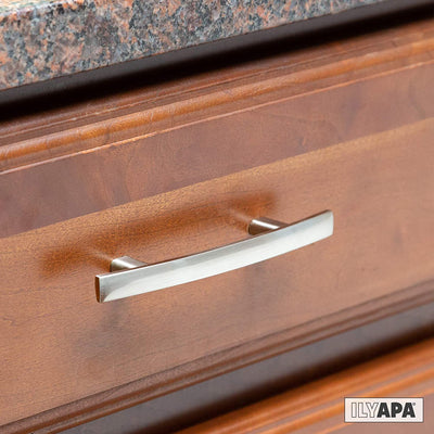 Satin Nickel Kitchen Cabinet Pulls - 3 Inch Hole Center Curved Pull Handle Bar - 10 Pack of Kitchen Cabinet Hardware