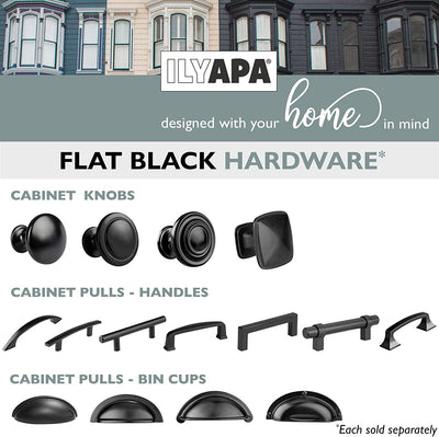 Black Kitchen Cabinet Pulls - 3 Inch Hole Center Industrial Design Bin Cup Drawer Handles - 10 Pack of Kitchen Cabinet Hardware
