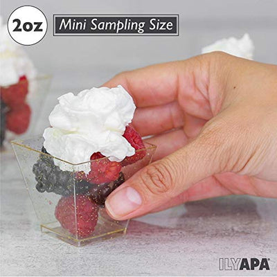 100 Mini Plastic Dessert Cups with Spoons - 2 oz Silver Glitter Dessert Shooters for Chocolate Desserts, Appetizers, Samplers, Shot Glasses & More