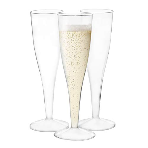 120 Premium Plastic Champagne Flutes - Bulk One Piece Champagne Glasses for Wedding or Party