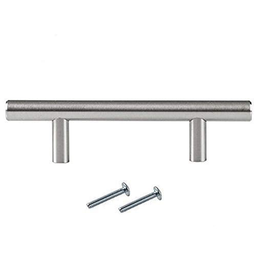 Satin Nickel Kitchen Cabinet Handles - 3 Inch Hole Center Bar Pulls - 10 Pack of Kitchen Cabinet Hardware