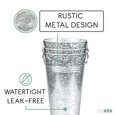 Galvanized Metal Vase 3 Pack - 13 Inch Tall Rustic Farmhouse Bucket Planter Pots for Decor