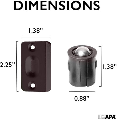 Ball Catch Door Hardware for Closet, Oil Rubbed Bronze 2 Pack