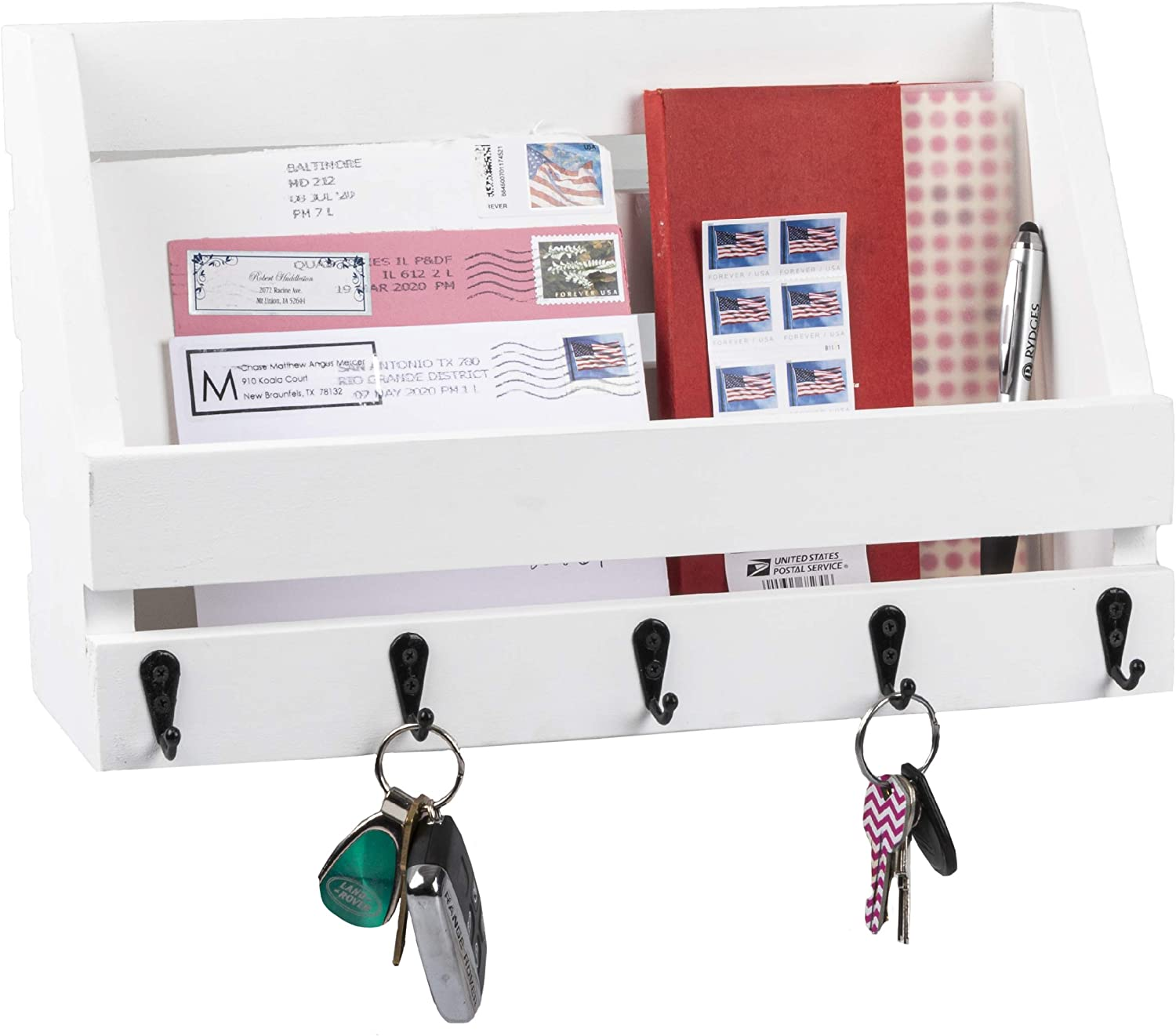 Key and Mail Holder for Wall - Wooden Wall Mount Mail Organizer & Key Rack - Weathered White Wood with Metal Hooks, Decorative