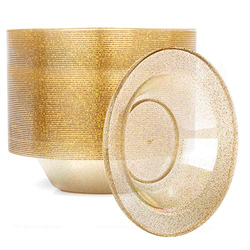12oz Plastic Bowls Set of 100 - Gold Glitter 12 oz Heavy Duty Dessert Disposable Bowl Pack for Wedding or Party
