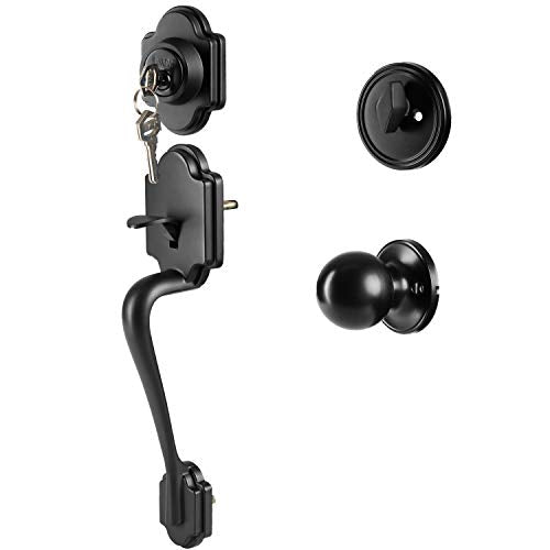 Traditional Style Front Door Exterior Handleset - Elegant Lock Set Handle Hardware with Single Cylinder Deadbolt Lock and Knob - Improved Classic Matte Black Finish