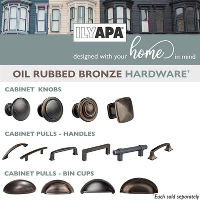 Oil Rubbed Bronze Kitchen Cabinet Handles - 3 Inch Hole Center Curved Bar Pulls - 10 Pack of Kitchen Cabinet Hardware