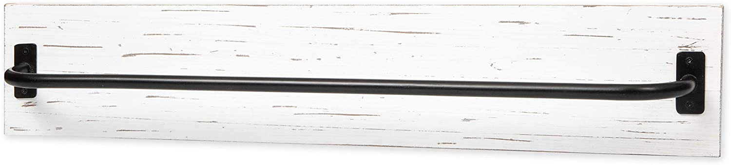 Ilyapa Wall Towel Rack for Bathroom - Rustic White Weathered Wood & Black Metal Bar