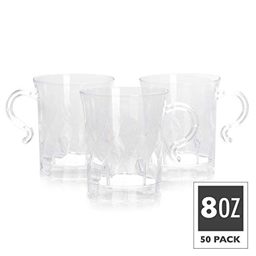 50 Plastic Coffee Cups with Handles, Clear 8 oz - Disposable or Reusable Tea Mug Pack