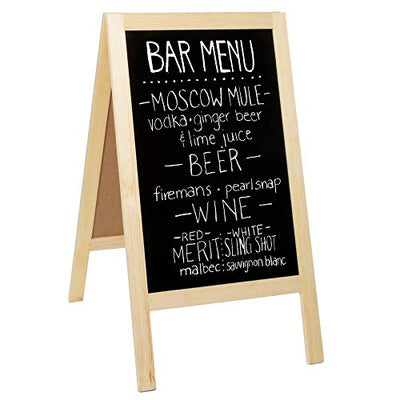 Wooden A-Frame Sign with Eraser & Chalk - 40 x 20 Inches Magnetic Sidewalk Chalkboard - Sturdy Freestanding DIY Sandwich Board Menu Display for Restaurant, Business Or Wedding