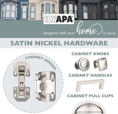 Soft Close Cabinet Hinges Satin Nickel, 2 Pack - Frameless Inset Kitchen Cabinet Door Hinges Hardware
