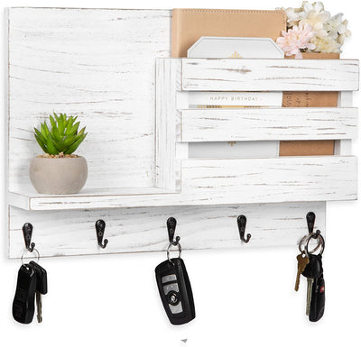 Key and Mail Holder with Shelf - Wooden Wall Mount Mail Organizer & Key Rack - Weathered White Wood with Metal Hooks, Decorative
