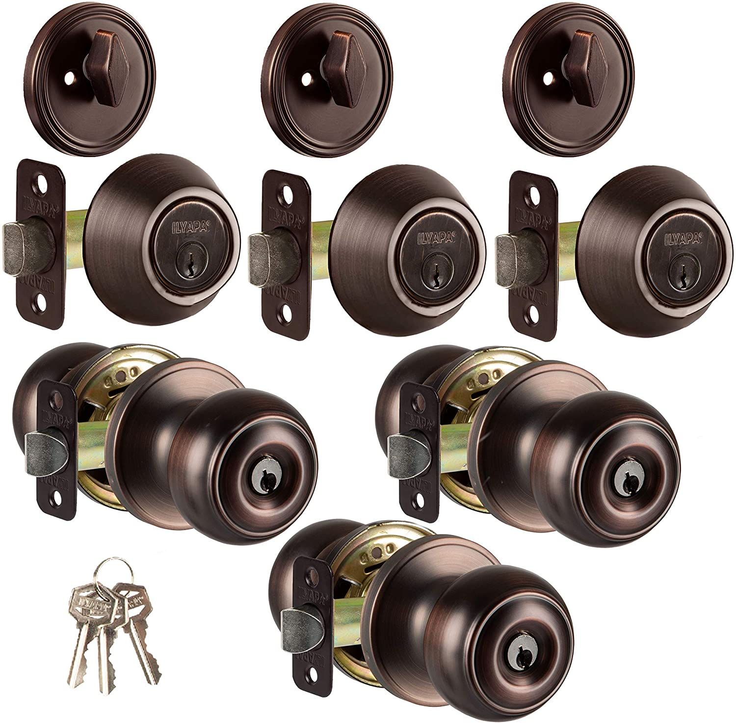 Entry Door Knob and Deadbolt Lock Set, 3 Pack - Oil Rubbed Bronze Interior Door Knobs for Front Entrance, Bedroom, Bathroom or Closet
