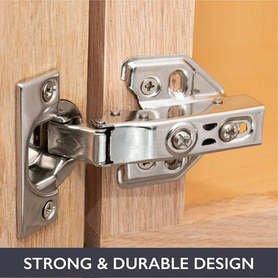 Soft Close Cabinet Hinges Satin Nickel, 2 Pack - Frameless Full Overlay Kitchen Cabinet Door Hinges Hardware