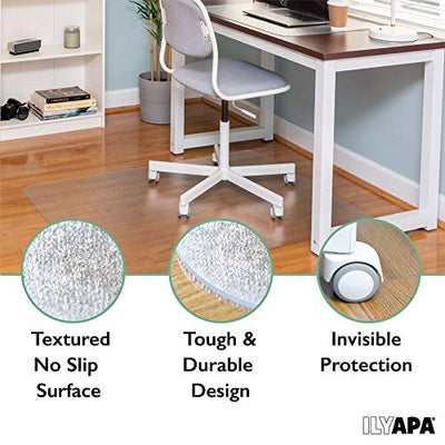 Ilyapa Heavy Duty Office Chair Mat with Lip, 36 x 48 Inches - Clear, Durable PVC Chair Mat for Hardwood Floors - Protective Floor Mat for Office, Computer Desk Chair Mat