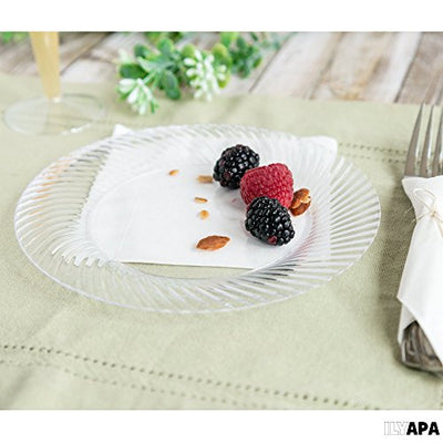 50 Premium Clear Plastic Plates for Dinner Party or Wedding - 7 Inch Fancy Disposable Plastics Plates