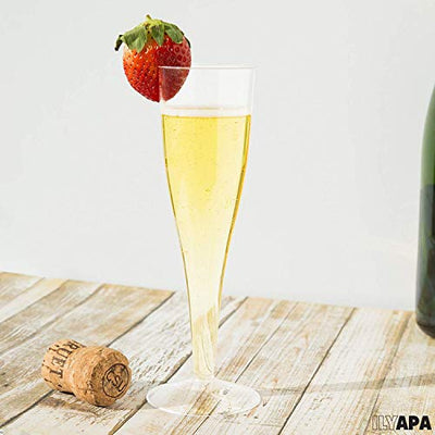 48 Premium Plastic Champagne Flutes - Bulk One Piece Champagne Glasses for Wedding, Party, Toasting, Mimosa or Cocktails