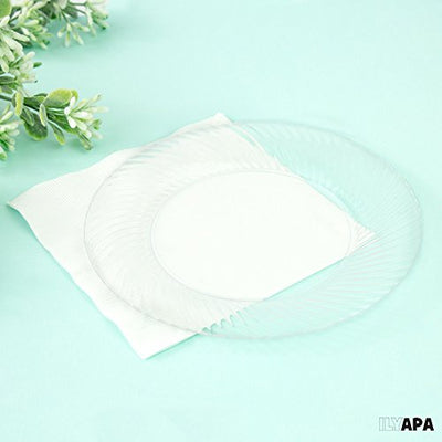 100 Premium Clear Plastic Plates for Dinner Party or Wedding - 7 Inch Fancy Disposable Plastics Plates