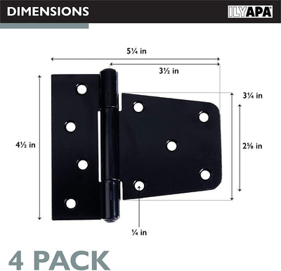 Ilyapa Heavy Duty Shed Door Hinges, 4 Pack - Black Cold Rolled Steel Square Hinges for Gate, Barn or Storage Shed