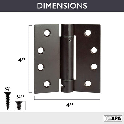 2 Pack of Self Closing Door Hinges Oil Rubbed Bronze - 4 x 4 Inch Square Interior Hinges for Doors