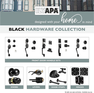Ilyapa Front Entry Door Handleset with Deadbolt - Classic, Matte Black Exterior Door Handle with Knob and Single Cylinder Deadbolt, Matte Black