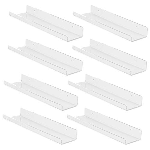 Vinyl Record Display Wall Mount, 8 Pack - Clear Acrylic Record Holder Shelf