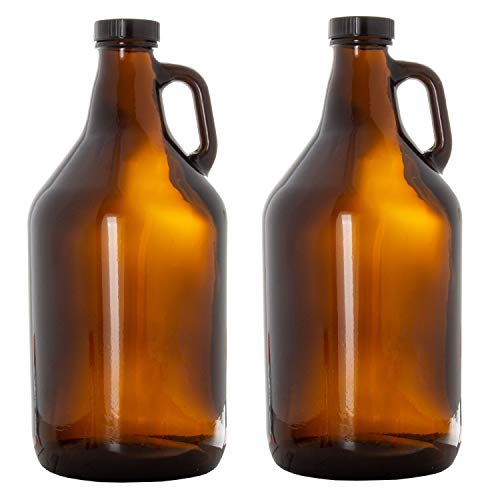 Glass Growlers for Beer, 2 Pack - 64 oz Growler Set with Lids - Great for Home Brewing, Kombucha & More