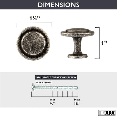 Antique Iron Kitchen Cabinet Knobs - 1 1/4 Inch Round Drawer Handles - 10 Pack of Kitchen Cabinet Hardware
