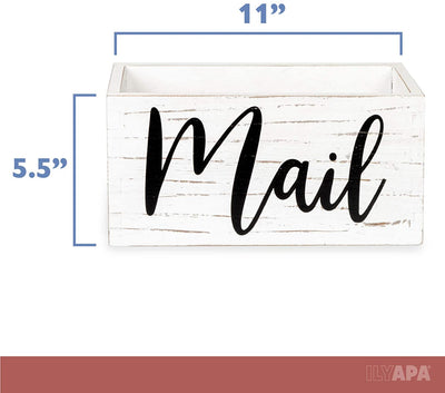 Ilyapa Wood Mail Holder for Countertop - Weathered White Wooden Mail Storage Basket for Entryway Table Decor