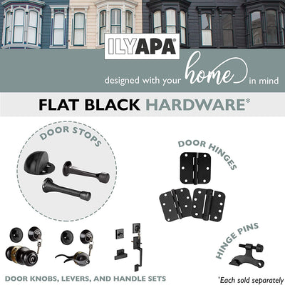 "6 Pack Hinge Pin Black Door Stops -Heavy Duty Adjustable Door Stopper 2-1/2"" x 1-3/4"",with Black Rubber Bumper Tips"