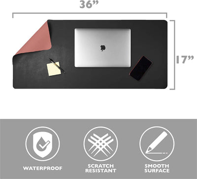 Office Desk Mat, Double Sided Black & Mauve - 36 x 17 Inch Leather Style Computer Pad for Desk